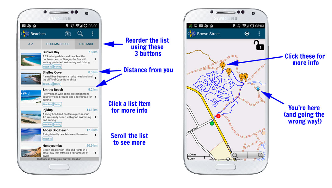Handy features on Margaret River Find the Fun Android App