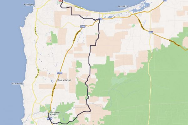 Dunsborough to Margaret River Cycling Map