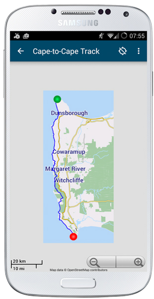 Margaret River Guide -Cape-to-Cape-Map; Contos to Bob's Hollow Hike