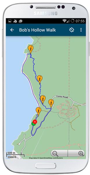 Margaret River Guide -Contos-to-Bobs-Hollow Map; Contos to Bob's Hollow Hike