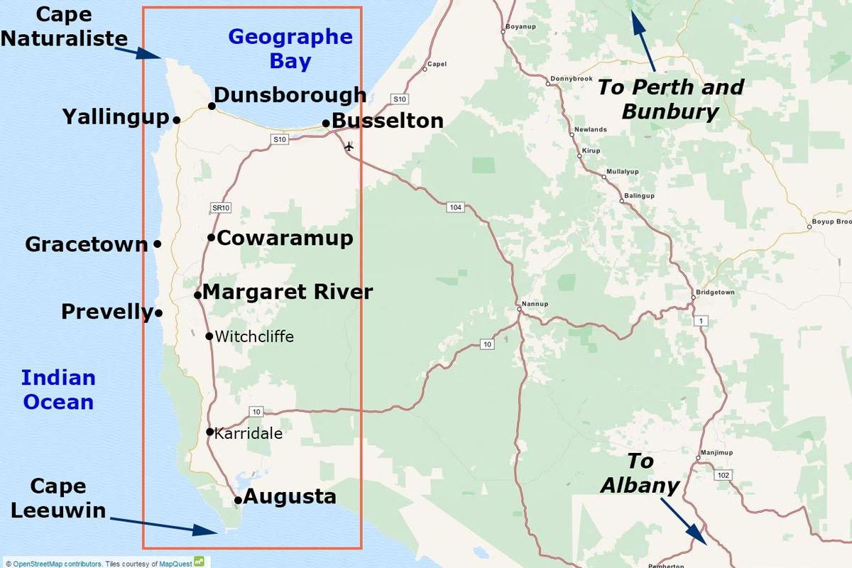 Map of the Margaret River Region