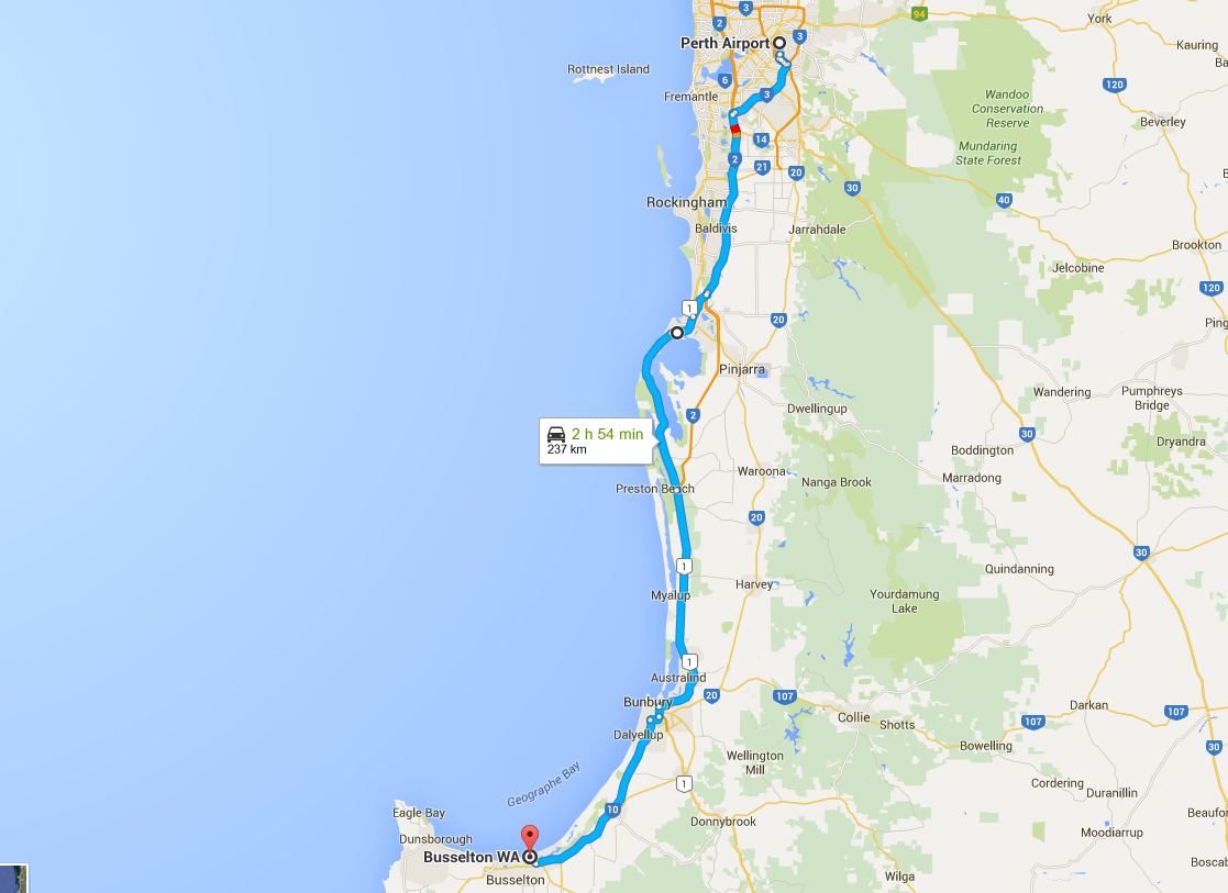 Google Map of Perth to Busselton via Mandurah