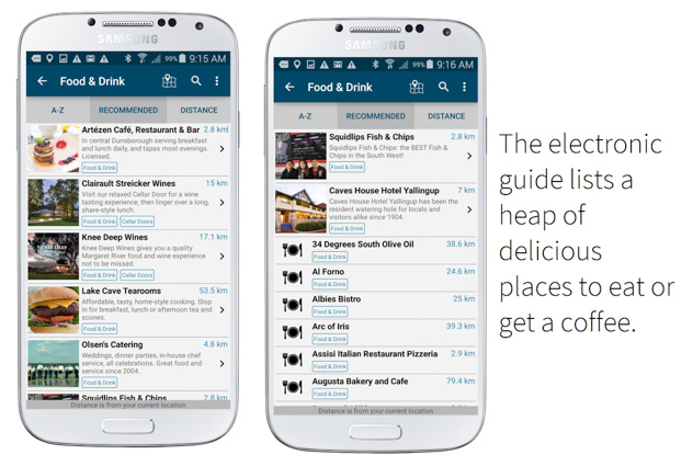 screenshots of food and drink listings on the margaret river guide